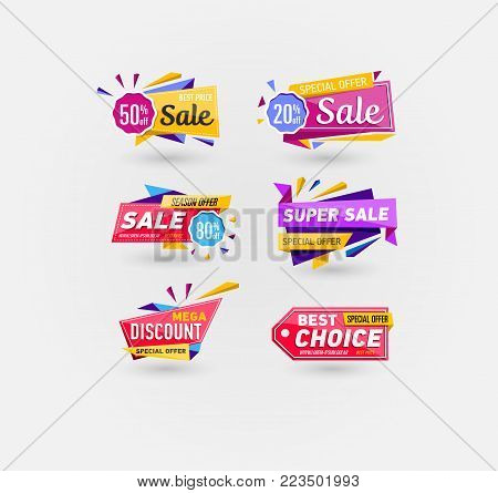 Supermarket sale stickers in trendy style. Season offer, best choice, mega discount, super sale labels. Retail advertising campaign, holiday shopping, exclusive proposition vector illustration.