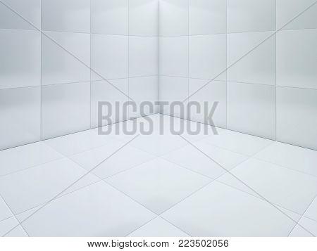Clean White tile floor corner 3D rendering