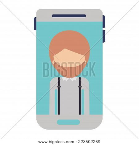 smartphone faceless man profile picture with short hair and beard in colorful silhouette vector illustration