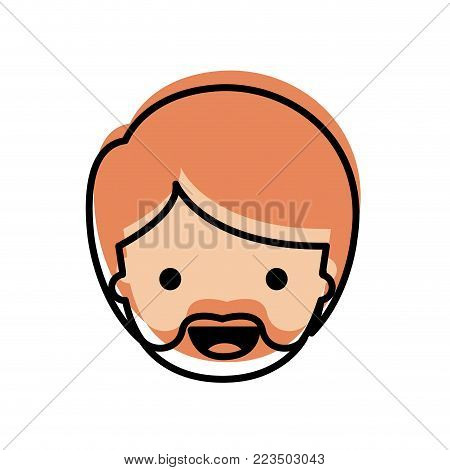 people graphic face of man with short hair and van dyke beard in watercolor silhouette vector illustration