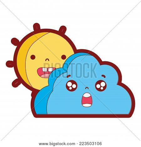 line color happy sun and surprised cloud kawaii vector illustration