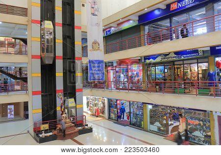 Kathmandu Nepal - November 10, 2017: Unidentified People Visit United World Trade Center Shopping Co
