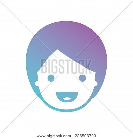 people graphic face of child with short hair in degraded blue to purple color silhouette vector illustration