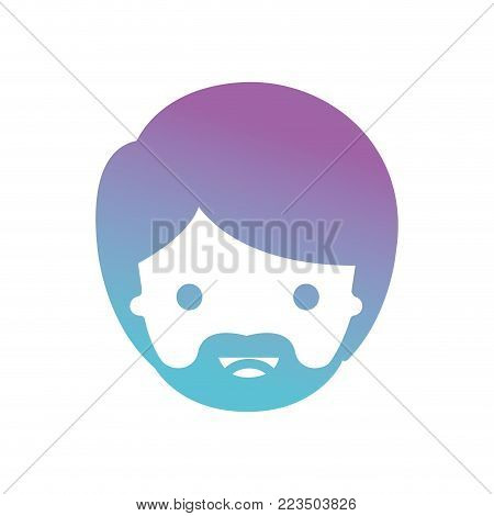 people graphic face of man with short hair and van dyke beard in degraded blue to purple color silhouette vector illustration