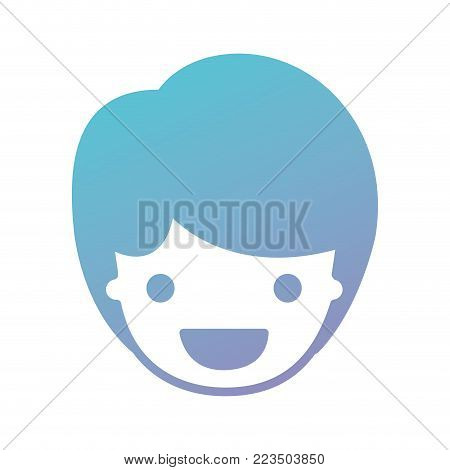 people graphic face of kid with short hair in degraded blue to purple color silhouette vector illustration