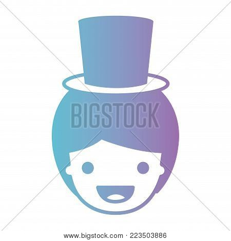 people graphic face of boy with short hair and small hat in degraded blue to purple color silhouette vector illustration