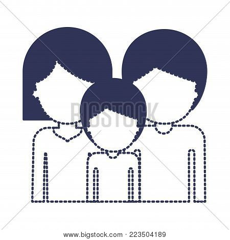 half body faceless people and woman mushroom hairstyle and man and boy with short hair in dark blue silhouette and dotted contour vector illustration