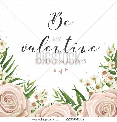 Floral card design with pink, creamy white garden roses, wax flowers, green tropical palm tree leaves bouquet border. Vector luxury elegant tender Valentine's day greeting, invite, postcard layout