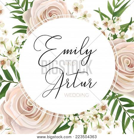 Wedding floral watercolor style invite, invitation, save the date card Design with pink, creamy white garden rose, wax flowers, green tropical palm tree leaves greenery frame. Vector. elegant template