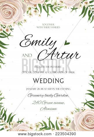 Wedding floral watercolor style invite, inviration, save the date card Design with pink, creamy white garden rose, wax flowers, green tropical palm tree leaves greenery frame. Vector. elegant template