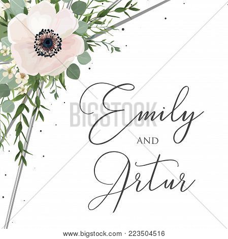 Wedding floral watercolor style invite, invitation, save the date card design with white anemones poppies, forest green eucalyptus branches & leaves greenery decoration. Vector elegant cute template.