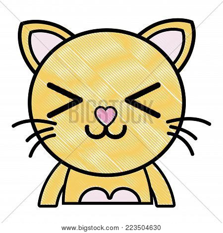 grated happy cat adorable feline animal vector illustration