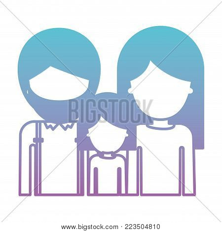 half body faceless people with man with beard and girl and woman with long straight hair in degraded blue to purple color silhouette vector illustration