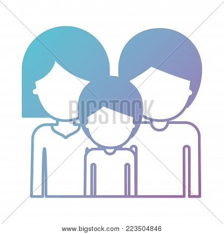 half body faceless people and woman mushroom hairstyle and man and boy with short hair in degraded blue to purple color silhouette vector illustration