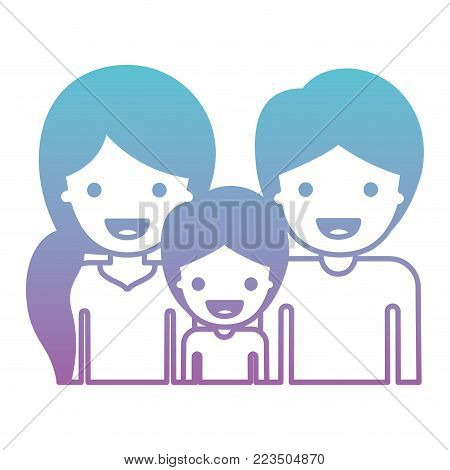 half body people with woman with pigtail hairstyle and man and boy both with short hair in degraded blue to purple color silhouette vector illustration
