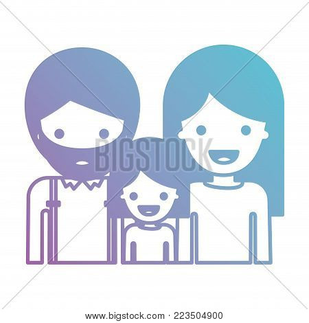 half body people with man with beard and girl and woman with long straight hair in degraded blue to purple color silhouette vector illustration