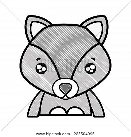 grated tender fox adorable wild animal vector illustration