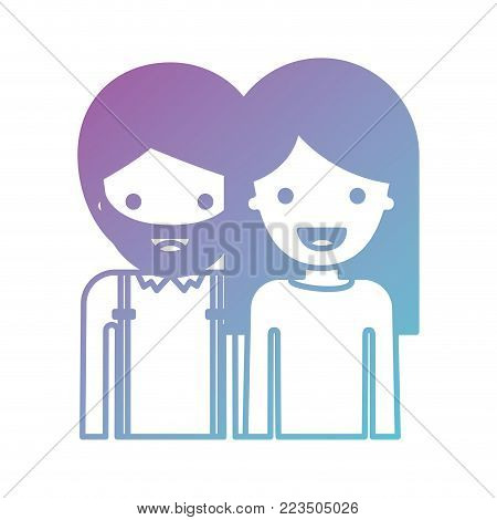 half body people with man with beard and woman with long straight hair in degraded blue to purple color silhouette vector illustration