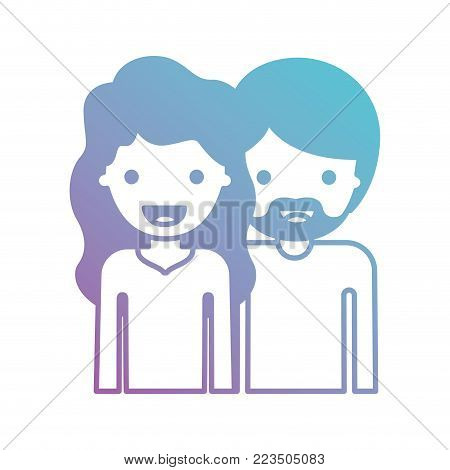 half body people with woman wavy hair and man with beard in degraded blue to purple color silhouette vector illustration