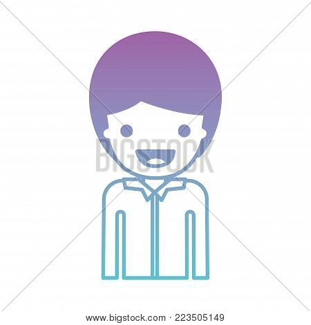 half body people with boy in shirt long sleeve and short hair in degraded blue to purple color silhouette vector illustration