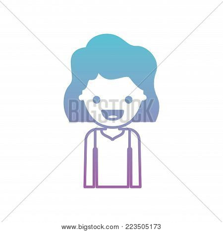 half body people with girl in t-shirt long sleeve and short wavy hair in degraded blue to purple color silhouette vector illustration