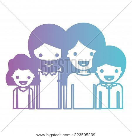 half body people with girl wavy hair and man with beard and woman with long straight hair and boy with short hair in degraded blue to purple color silhouette vector illustration