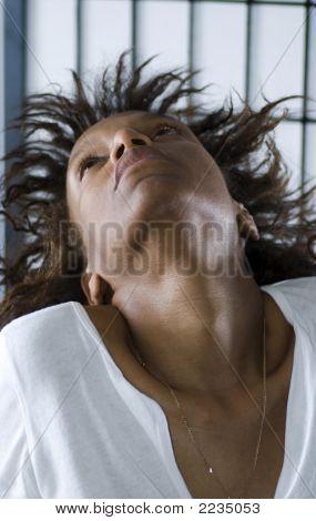 Beautiful Black Woman On Asian Screen Background
