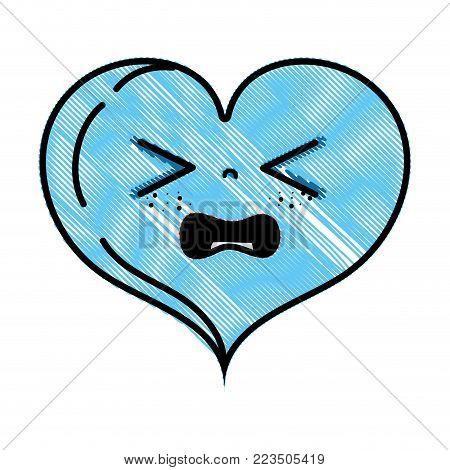 grated gaudy heart love kawaii cartoon vector illustration