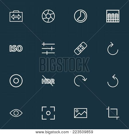 Image icons line style set with switch cam, healing, refresh right and other shutter elements. Isolated vector illustration image icons.