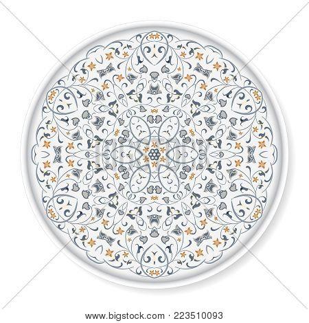 Decorative plate with colored arabic ornament. Home decor background, Interior decoration, kitchen plate.