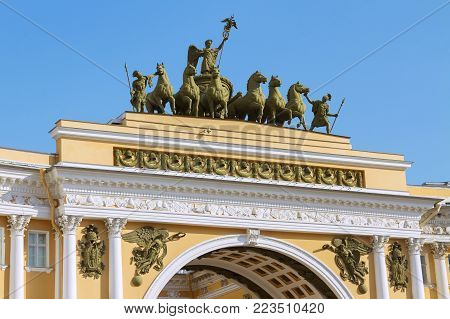 Sculptural group on the building of the General Staff in St. Petersburg. City, sculpture, architecture