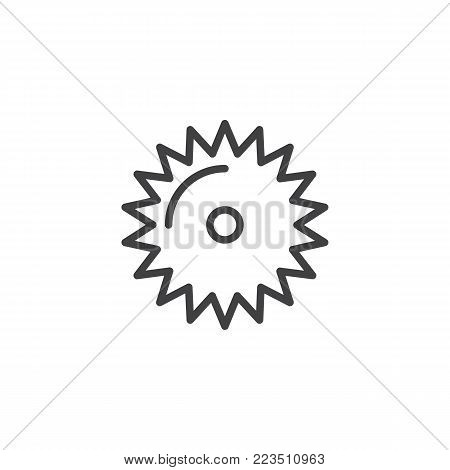 Saw blade line icon, outline vector sign, linear style pictogram isolated on white. Industrial saw symbol, logo illustration. Editable stroke