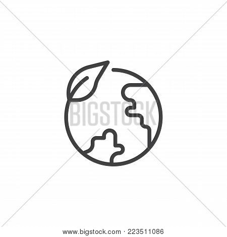 Eco globe line icon, outline vector sign, linear style pictogram isolated on white. Leaf and earth globe symbol, logo illustration. Editable stroke