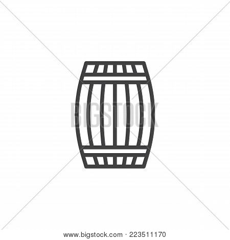 Wooden barrel cellar line icon, outline vector sign, linear style pictogram isolated on white. Wine barrel Symbol, logo illustration. Editable stroke
