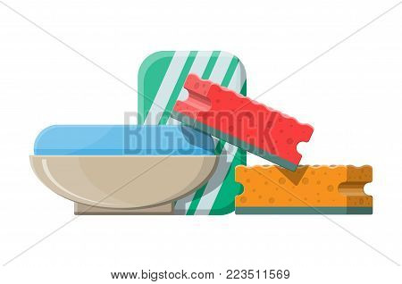 Piece of soap in the soap dish. Vector illustration in flat style