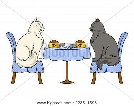 Cats on date in cat restaurant pop art retro vector illustration. Isolated image on white background. Comic book style imitation.