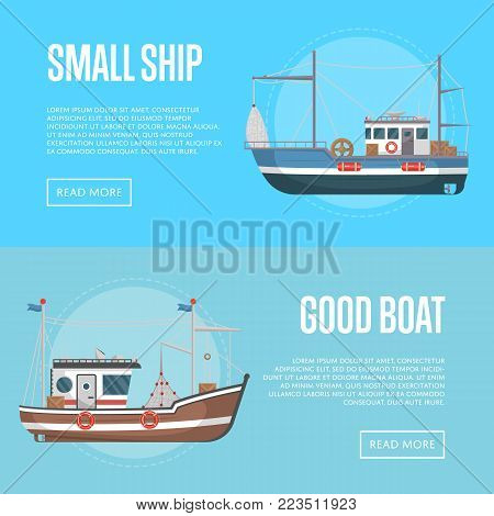 Fishing business flyers with small boats. Commercial marine flotilla of ships, sea or ocean nautical transportation. Fishing trawlers for traditional seafood production vector illustration.