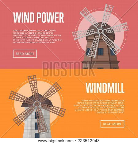 Wind power flyers with old windmills. Organic agricultural farming and flour production, ecological food manufacturing, natural farming. Medieval european travel attraction vector illustration.