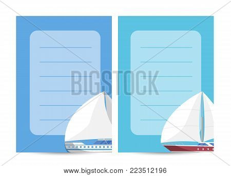 Yachting and sailing card with sailboat and space for text. Marine explore tour advertising, trip on speedy cruise ship, world regatta competition. Sea voyage on luxury sail yacht vector illustration.