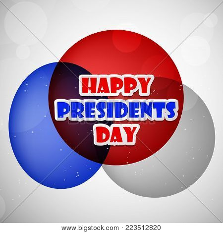 illustration of Happy Presidents Day text on circles background on the occasion of Presidents Day