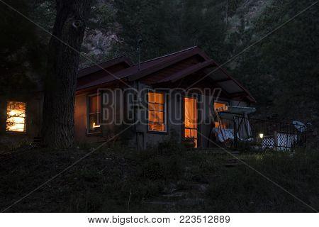 Colorado Springs, CO/USA - Circa September, 2016: A quaint home in the woods near Colorado Springs, Colorado.
