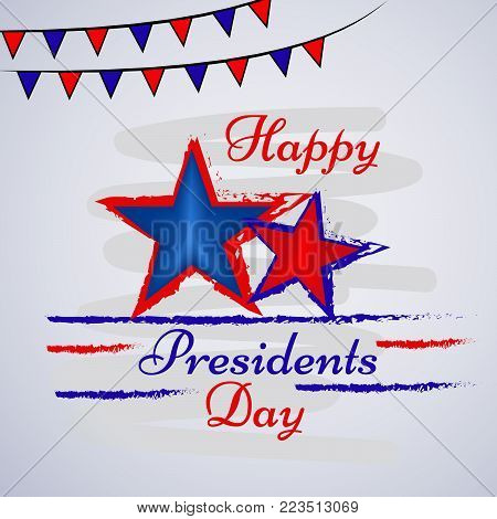 illustration of stars and decoration with Happy Presidents Day text on the occasion of Presidents Day