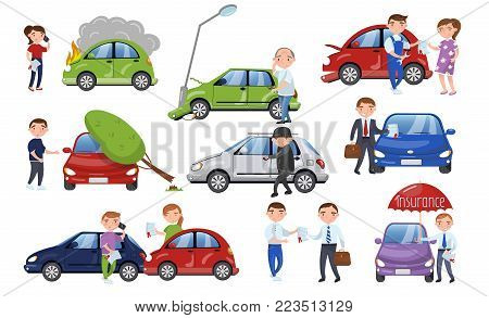 Car crash and accident set, car insurance cartoon vector Illustration on a white background