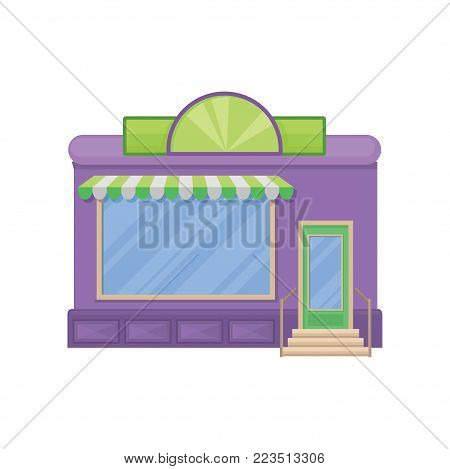 Facade of shop building with showcase window, front view of city building cartoon vector Illustration on a white background
