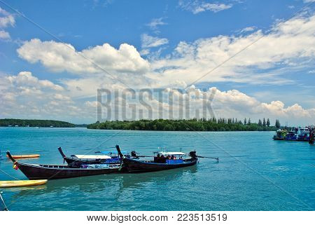 Long Tail Boats, Tropical Beach, Andaman Sea