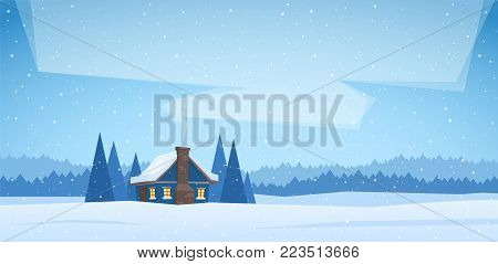 Vector illustration: Winter christmas landscape with cartoon house and smoke from the chimney.