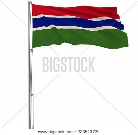Isolate flag of Gambia on a flagpole fluttering in the wind on a white background, 3d rendering