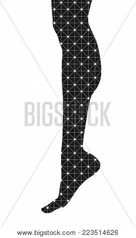 Slim elegant woman leg silhouette textured by lines and dots pattern. Legs design element.