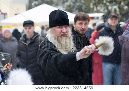 Belarus, Gomel, 19 January 2018.Day of the Cross Baptism.The priest sanctifies