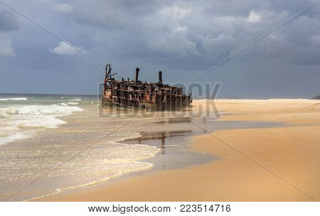 Meheno shipwreck at Fraser Island in Queensland Australia